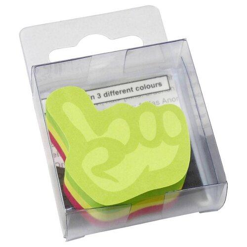 Global Notes блок с липким слоем Рука 3 цвета 50х50 мм, 225 листов (584439) зеленый/желтый/розовый