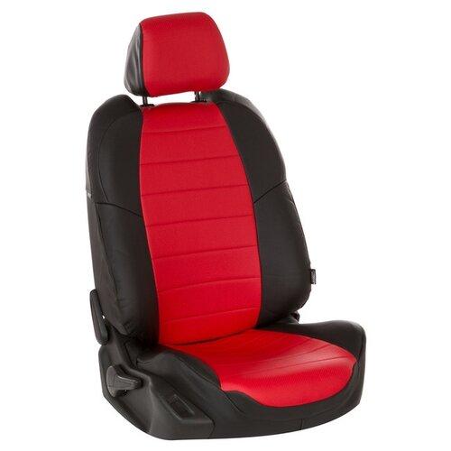 Комплект чехлов АВТОПИЛОТ из экокожи для Audi А6/C7 черный/красный