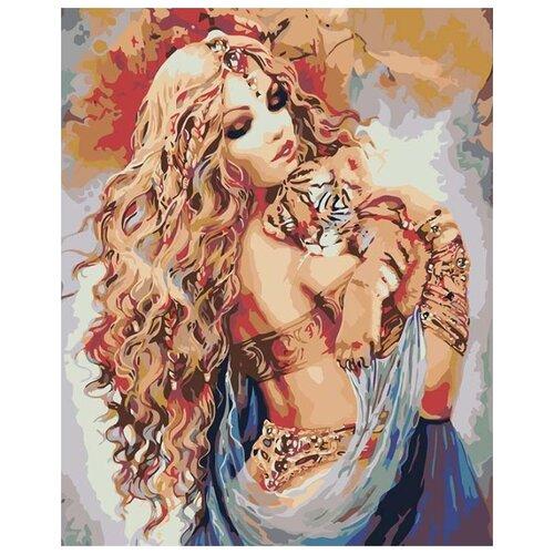 Купить Картина по номерам Живопись по Номерам Девушка с тигренком , 40x50 см, Живопись по номерам, Картины по номерам и контурам