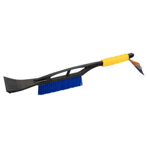 Щетка зимняя автомобильная для снега, со скребком (52 см) синяя щетина, жёлтая ручка