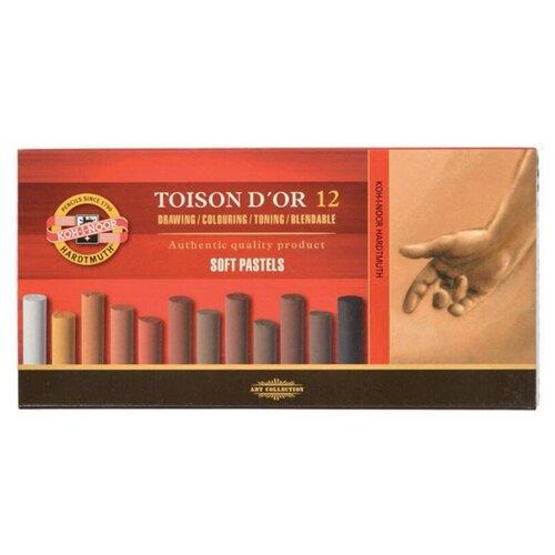 Купить KOH-I-NOOR Пастель сухая коричневые тона Toison D'or 12 цветов, Пастель и мелки