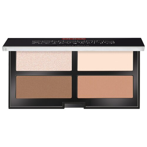 Pupa Набор для скульптурирования лица Contouring & Strobing Palette 001, light skin pupa bronzing and contouring all in one powder palette