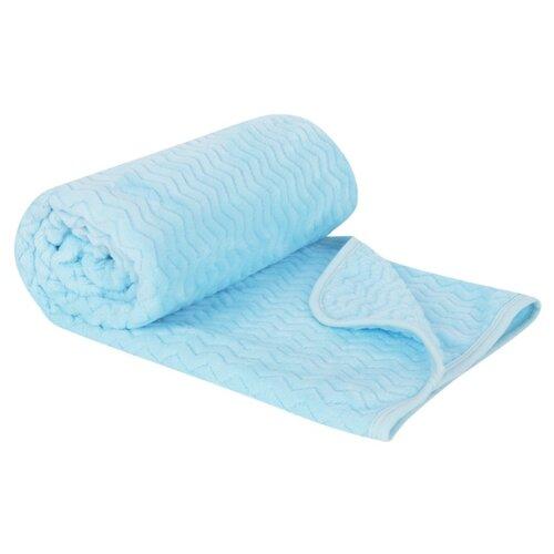 Купить Плед Зайка Моя Волны 90х130 см голубой, Покрывала, подушки, одеяла