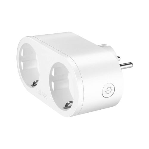 Розетка ELARI Dual Smart Socket,16А, с защитной шторкой, с заземлением, белый, дистанционное управление розетка xiaomi mi smart plug wifi 16а с защитной шторкой с заземлением белый