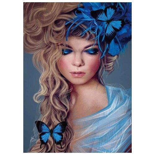 Алмазная вышивка Цветной Бабочки в волосах, 40x30