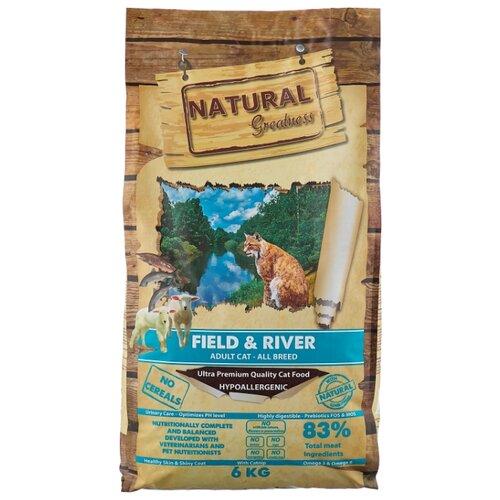 Корм для кошек NATURAL Greatness Field&River беззерновой, с лососем, с ягненком 6 кг greatness