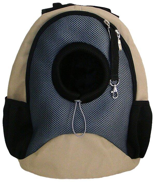 Переноска-рюкзак для кошек и собак Melenni Эконом M 38х22х41 см бежевый/черный