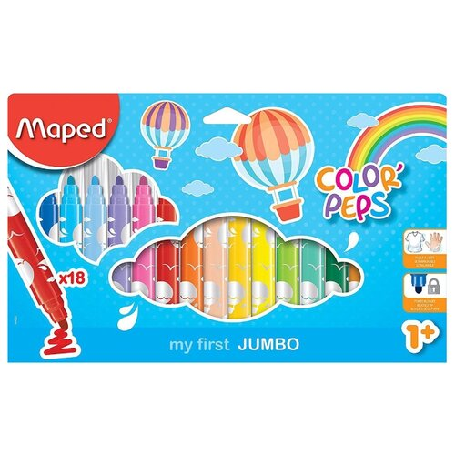 Купить Maped Фломастеры Color'Peps Jumbo 18 шт. (846221), Фломастеры и маркеры