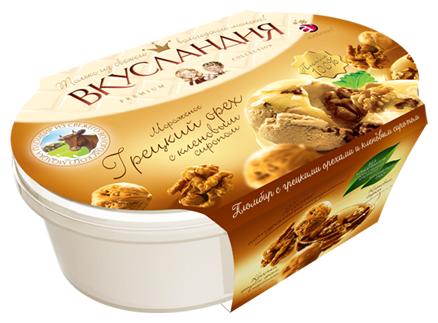 Мороженое Айсберри Вкусландия Грецкий орех с кленовым сиропом 450г