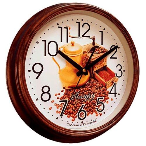 Часы настенные кварцевые Алмаз A27 коричневый/белый часы настенные кварцевые алмаз a58 коричневый белый