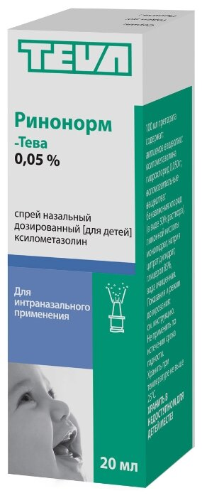 Ринонорм-Тева спрей наз. 0,05% фл. 20 мл — купить по выгодной цене на Яндекс.Маркете