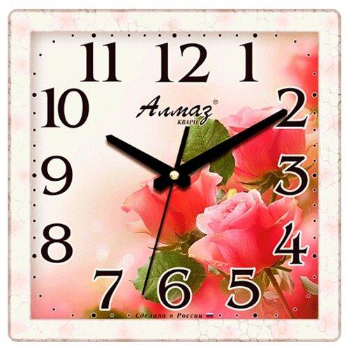 цена на Часы настенные кварцевые Алмаз K28 розовый/красный
