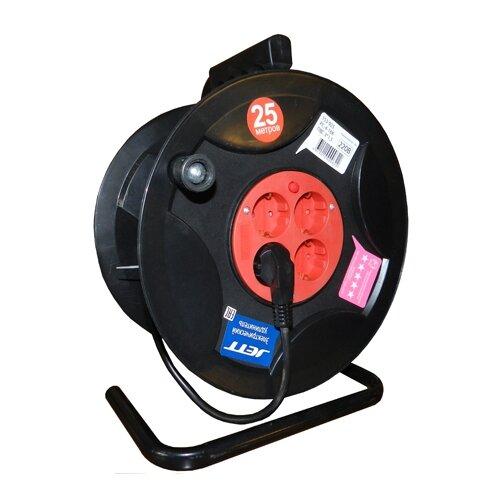 Jett Электрический удлинитель на катушке 4 гн. с заземлением 50 м (ПВС 3x1,5) 1208470 brennenstuhl удлинитель на катушке garant 40 м прорезинный кабель cablepilot