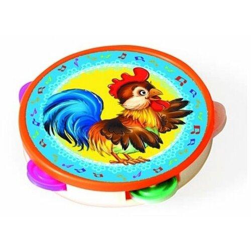Купить Рыжий кот бубен Петушок И-2899 красный/голубой/желтый, Детские музыкальные инструменты