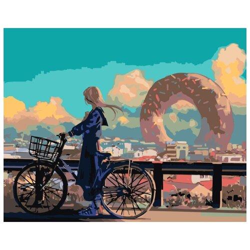 Купить Картина по номерам Живопись по Номерам Арт-девушка на велосипеде , 40x50 см, Живопись по номерам, Картины по номерам и контурам