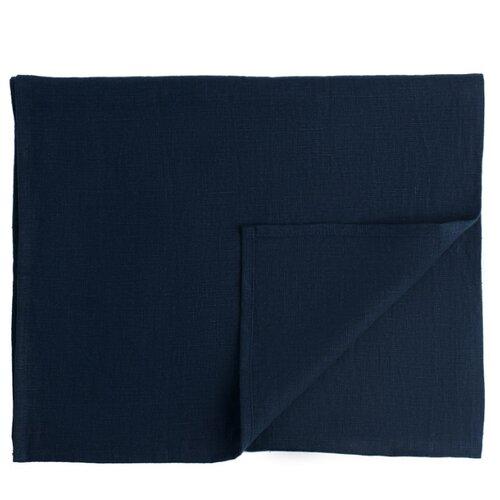 Дорожка на стол Tkano из умягченного льна темно-синего цвета Essential, 45х150 см