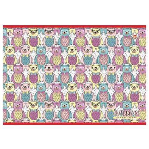 Купить Альбом для рисования Канц-Эксмо Разноцветные мишки (орнамент) 29.7 х 21 см (A4), 120 г/м², 40 л., Альбомы для рисования