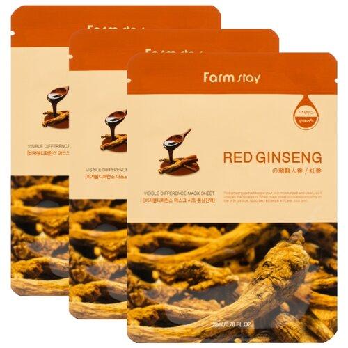 Farmstay Тканевая маска Visible Difference Mask Sheet Red Ginseng с экстрактом корня красного женьшеня, 23 мл, 3 шт.