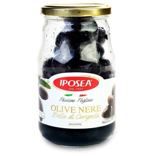 Iposea Оливки черные Белла ди Чериньола с косточкой без жидкости, 310 г