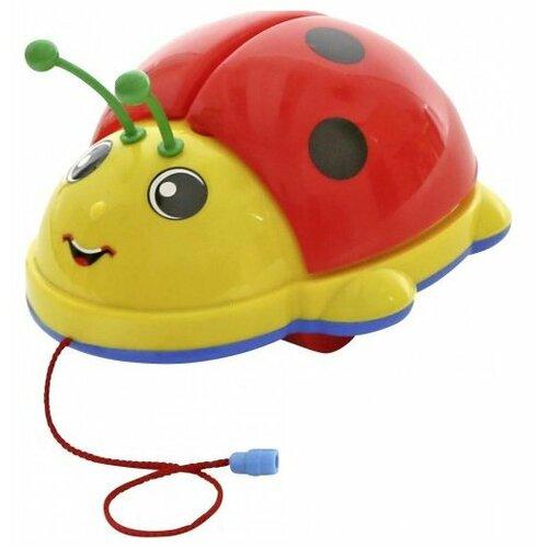 Купить Каталка-игрушка Molto Божья Коровка (9158 / 7888) со звуковыми эффектами красный/желтый/голубой, Каталки и качалки