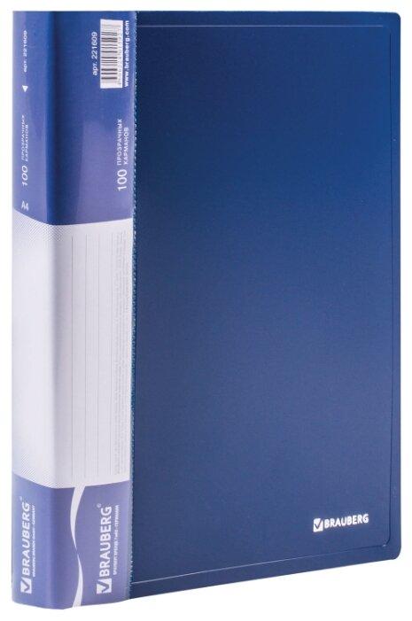 Купить BRAUBERG Папка-дисплей на 100 вкладышей Стандарт А4 Синяя по низкой цене с доставкой из Яндекс.Маркета (бывший Беру)