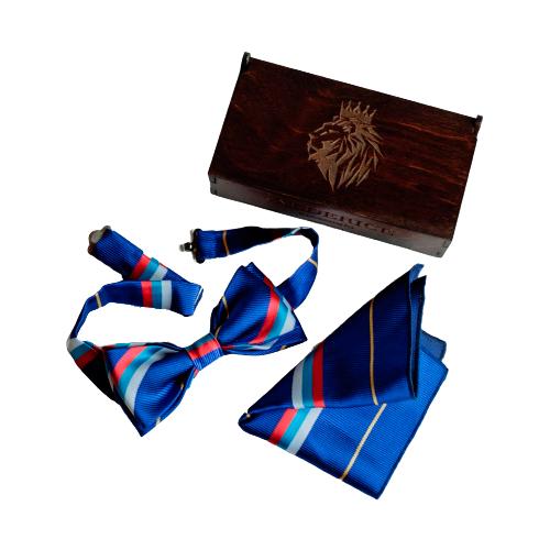 Комплект из 2 предметов Valderice галстук-бабочка и платок VLD0001 синий