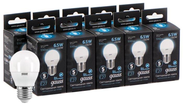 Светодиодная лампа GAUSS LED Globe E27 6.5W 100-240V 4100K (10 штук)