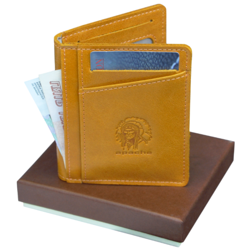 Фото - Футляр для карт из натуральной кожи ФК-А табачно-желтый Apache портмоне кошелек для документов и денег вояж табачно желтое apache