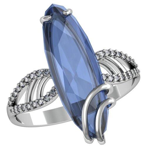 Приволжский Ювелир Кольцо с стеклом и фианитами из серебра 261678-FA11KV77, размер 19 фото