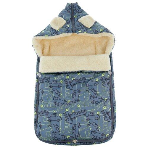 Конверт-мешок Leader Kids зимний меховой в коляску с ушками Машинки 84 см серыйКонверты и спальные мешки<br>