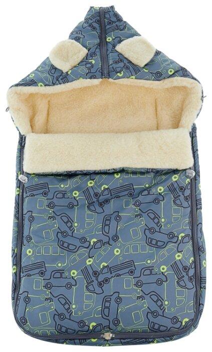 Конверт-мешок Leader Kids зимний меховой в коляску с ушками Машинки 84 см