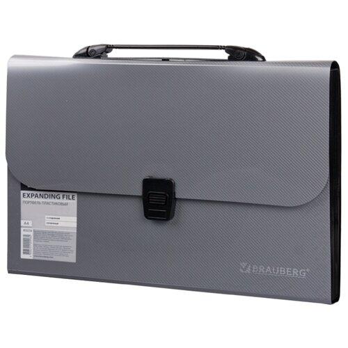 Купить BRAUBERG Портфель пластиковый А4, 13 отделений серебристый, Файлы и папки