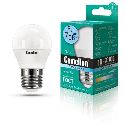 Лампа светодиодная Camelion 12394, E27, G45, 8Вт лампа светодиодная camelion gu5 3 jcdr 8вт