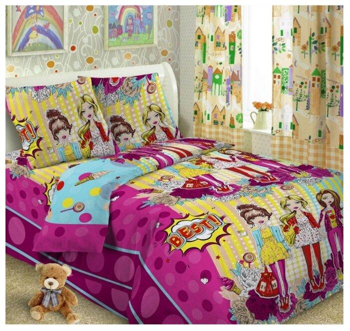 Купить Постельное белье 1.5-спальное Letto Подружки, перкаль, 50 х 70 см по низкой цене с доставкой из Яндекс.Маркета (бывший Беру)