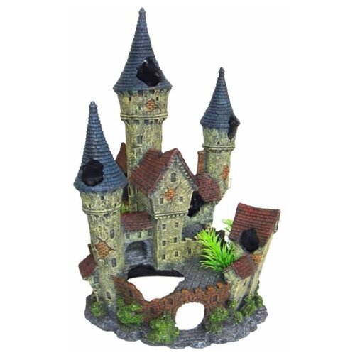 Грот BARBUS Замок Decor 006 12x21x11 см серый/зеленый
