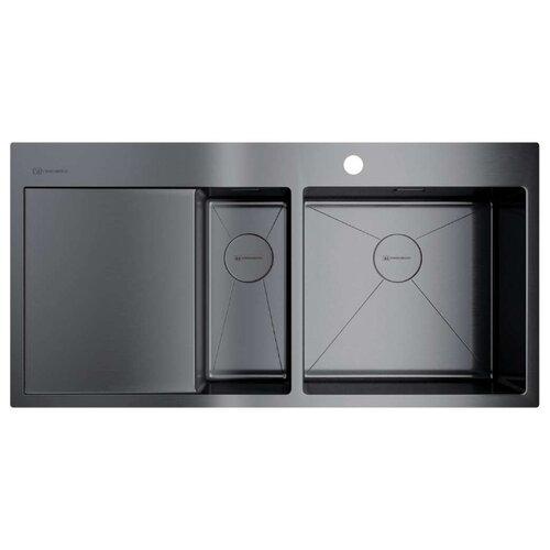 Интегрированная кухонная мойка 100 см OMOIKIRI Akisame 100-2-GM-R вороненая сталь кухонная мойка omoikiri akisame 78 gm r нерж сталь вороненая сталь 4973100