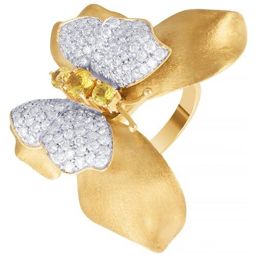 цена на JV Кольцо Бабочка с бриллиантами, сапфирами из желтого золота GR2626X-ESAYW4-YS-YG, размер 17.5
