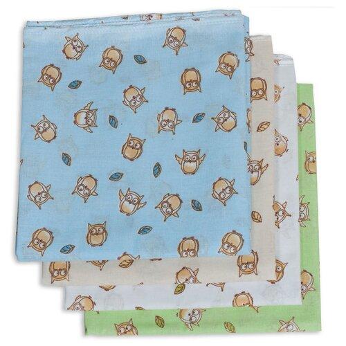 Многоразовые пеленки Чудо-Чадо Сыночку ситец 120х90 набор 4 шт. совушки