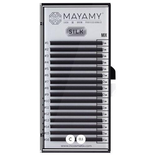 Innovator Cosmetics Ресницы MAYAMY SILK 16 линий С-изгиб 0.10 MIX черный eldan cosmetics официальный отзывы