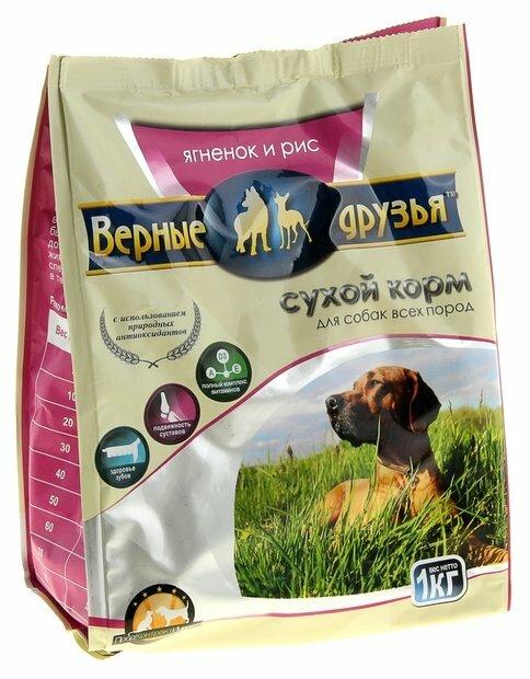 Корм для собак Верные друзья Сухой для всех пород - Ягненок и рис (1 кг)