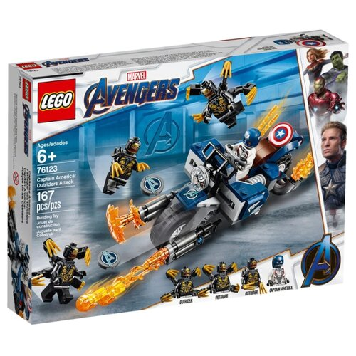 Конструктор LEGO Marvel Super Heroes 76123 Капитан Америка: Атака Аутрайдеров lego конструктор lego super heroes 76130 реактивный самолёта старка и атака дрона