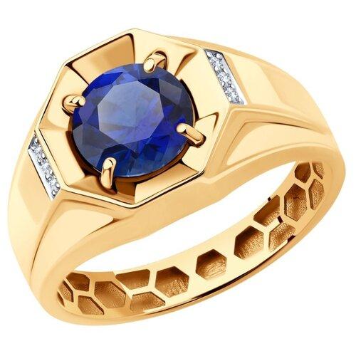 SOKOLOV Кольцо из золота с корундом и фианитами 716145, размер 17.5