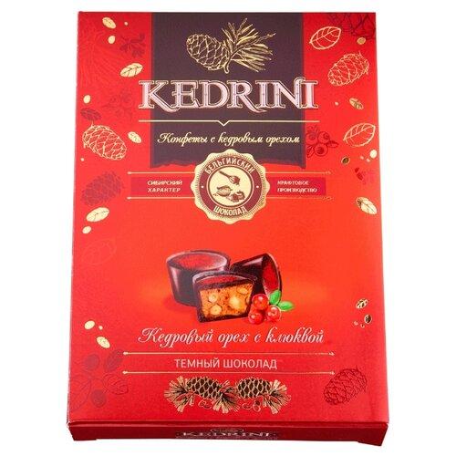 Набор конфет Kedrini Кедровый орех с клюквой в темном шоколаде 80 г красный laima царицино ассорти конфет в темном шоколаде 360 г