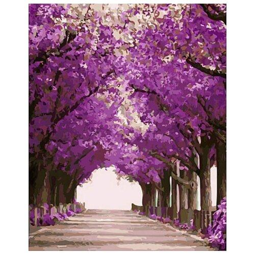 Картина по номерам Цветной Сиреневая аллея, 40x50 см