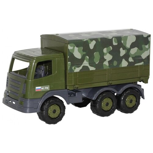 Купить Грузовик Полесье военный бортовой тентовый Престиж РФ (48592) 39 см зеленый, Машинки и техника