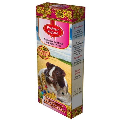 Лакомство для грызунов Родные корма Лакомые палочки витаминно-минеральные 90 г