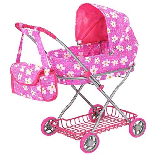 Купить Коляска-люлька Melobo / Melogo C сумкой и корзиной (9325) розовый Цветочки , Коляски для кукол