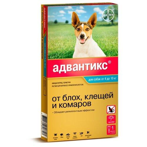 Адвантикс (Bayer) капли от блох и клещей инсектоакарицидные для собак и щенков 4-10 кг адвантикс капли адвантикс от блох клещей и комаров для щенков и собак весом от 1 5 до 4 кг 4 пипетки