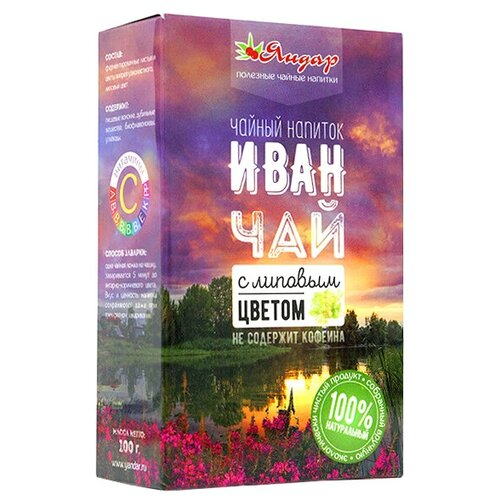 Чайный напиток травяной Яндар Иван-чай с липовым цветом, 100 гЧай<br>