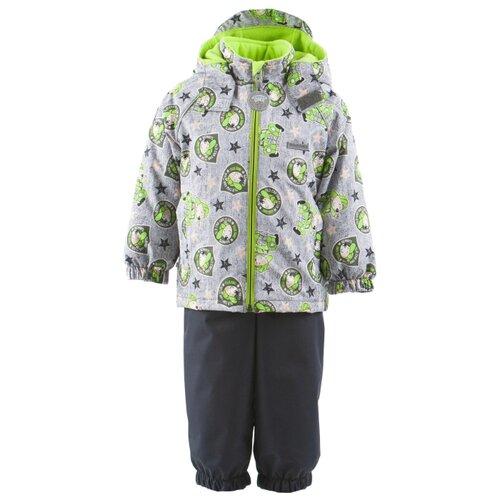 Комплект с полукомбинезоном KERRY Monty K19014 размер 98, 1040 серо-зеленый с принтомКомплекты верхней одежды<br>